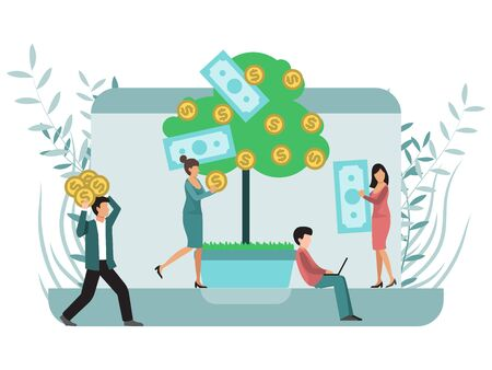 Online banking, financial investments, money growth concept, bank attract new customers for invests, deposits Illustration