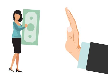 Person refuses money vector illustration. Refusal money business concept. Big hand refuse currency. Businesswoman offers cash to man who reject. Stop corruption, bribery, bribing