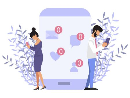Loneliness with phone concept. People near mobile phone with no message sign. Sad man and woman holding mobile phone with no message sign. Mobile communications, network social addiction