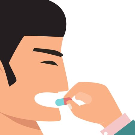 Man eat medicine vector illustration. Person takes a pill for health. Mouth take a drug care. Disease treatment. Drug and vitamin, care for people.