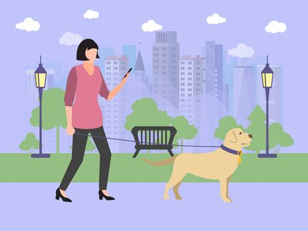 Girl walking with dog in park vector illustration. Lady in pink jacket with smartphone, cute dog, trees and grass. Standard-Bild - 139189188