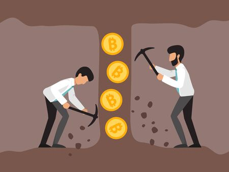 Cryptocurrency concept with businessman miners in mine. Young men with jackhammer and pickaxe working in bitcoin mines.