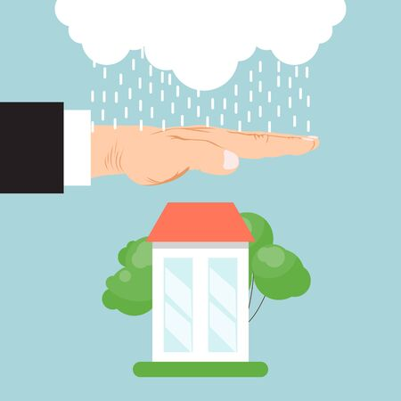 Property insurance house concept vector illustration. Real estate, home care, property protection service. Insurer hand protecting home from rain. Illustration