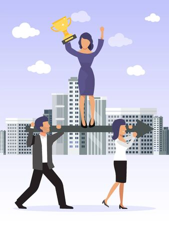 Working together, coordination and developing business concept. Business team leader holds an golden cup, stands on arrow which carried by his workers. Businessman leadership vector illustration