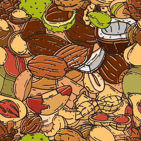 Nuts and seeds seamless pattern vector illustration. Different nut and seed colored background. Banco de Imagens - 139189193