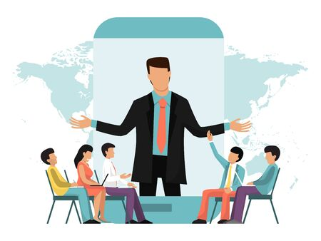 Business online video meeting, conference, lecture or webinar vector illustration