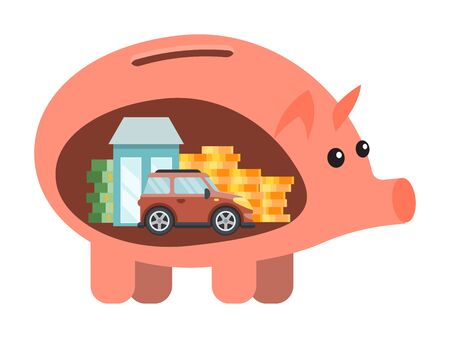 Piggy bank save money plan for dreams vector illustration. Saving money planning for new car, house, holidays. Financial piggy bank economy savings. Money box with cash, coins, car and house inside it