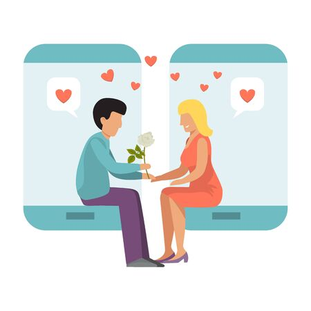 Couple with smartphone concept of online dating vector illustration. Boy and girl in phone date on line love. Internet meeting of lonely people. Internet dates app