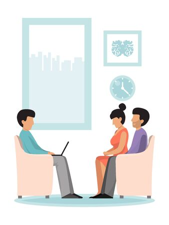 Psychologist psychotherapy session with family vector illustration. Professional psychotherapist having session. Family talking about marriage problems. Illustration