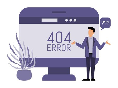 Error 404 pages site and man concept vector illustration. Man get an internet error 404. Page not found concept.