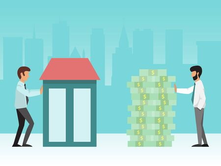 Buying house concept vector illustration. Real estate manager and buyer standing near building and stack of cash