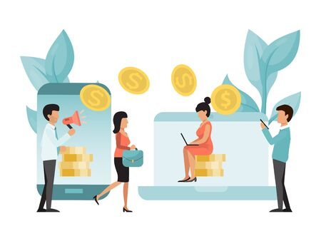 Money online transfers concept. People transfer money to bank accounts via the Internet using a laptop and smartphone. Technology on line banking money transferring, e-commerce, mobile payments Stock Illustratie