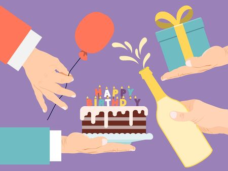 Birthday party card vector illustration. Birthday cake with candles and gift, champagne, presen, balloon in hands 向量圖像