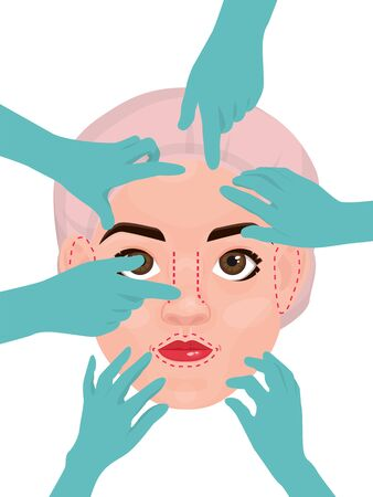 Woman face and doctors hands in gloves. Lifting, plastic surgery vector illustration. Female face with surgical marking surrounded by hands in glove 向量圖像