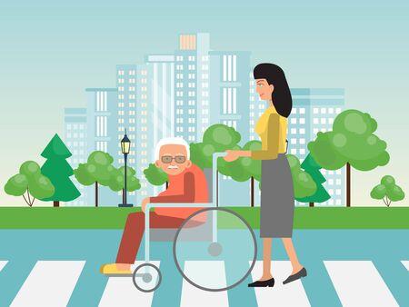 Ayudando a personas discapacitadas en cruce de caminos. Asistencia a ancianos en silla de ruedas ilustración vectorial. La mujer ayuda a los ancianos en sillas de ruedas a cruzar la calle.