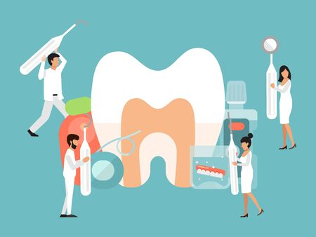 Tiny people dentists characters vector illustration. Dental care by tiny doctors banner concept. Dentist people with tools cares about big tooth. For banners, posters, landing pages or web