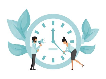 Deadline working people with big clock concept. Business woman try to stop clock arrows, man with megaphone stand. Deadline term delay problem. Big clock and two person, time management