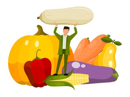 Tiny man vegeterian and healthy organic food. Adult person eating raw fresh vegetables. Vegetable for mens health concept Ilustracja