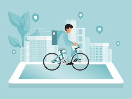 Online delivery service concept vector illustration. Urban landscape with food courier driving bike fast delivery. Delivery man rides on a big phone against the backdrop of the cityscape