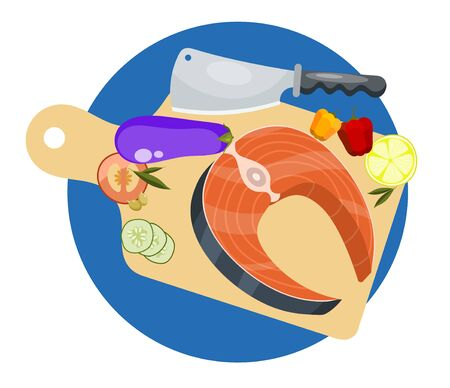 Salmon recipe cooking concept. Fresh fish steak vegetable and knife vector illustration. Salmonids fish fillets, trout with herbs and lemon. Raw seafood on wooden cutting board, spices and ingredients