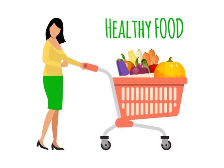 Woman pushing a shopping cart filled with fruits and vegetables. Girl with healthy food shopping trolley vector illustration. Female with fruit and vegetable in cart isolated