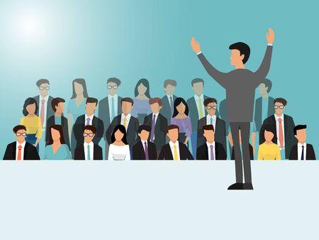 Uomini d'affari che parlano sull'illustrazione vettoriale di seminari, riunioni o conferenze. Vista posteriore dell'altoparlante aziendale. Uomo in piedi davanti alla folla. Vettoriali