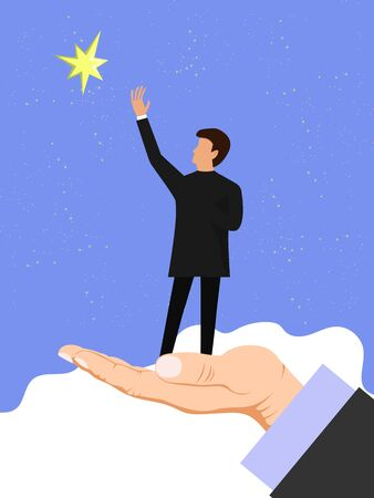 Hand helps a businessman reach out for the stars. Business helping, partneship concept vector illustration. Business success moving forward leadership 向量圖像