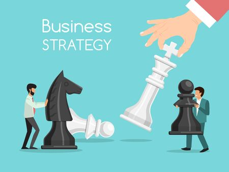 Business strategy chess playing concept. Business chessman competition vector illustration. Businessmen hold chess pieces as a symbol of rivalry 스톡 콘텐츠 - 139212587