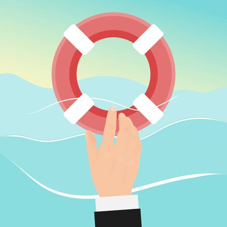 Preserver rescue businessman with lifebuoy. Drowning man in water gets a life buoy. Helping business to survive vector illustration. Business emergency help, support, survival, investment concept.
