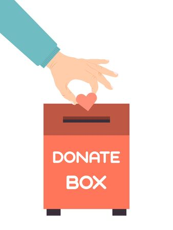 Hand put a heart in donation box. Donations boxes with hearten vector illustration. Compassion concept. People throw hearts into a charity case