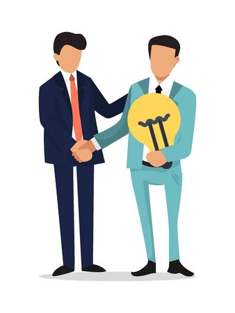 Businessman shake hands, hold idea bulb. Partnership, startup and search of investments concept. The men in suits holding light bulb and shaking hands
