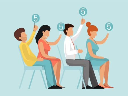 Group of judges jury. Competition judge with score panels at table. Contest jury with rating vector illustration. Competitions vote rating. Professional estimation. People holding sign with ratings
