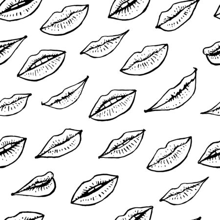 Black and white seamless pattern with beautiful women lips. Female mouth seamlessly background vector illustration.