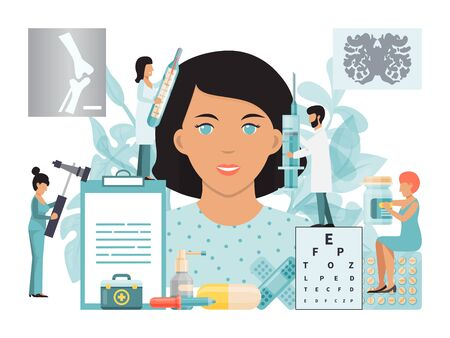 Medical examination doctors therapist, optometrist, psychotherapist and neurologist treat patient vector illustration Ilustração
