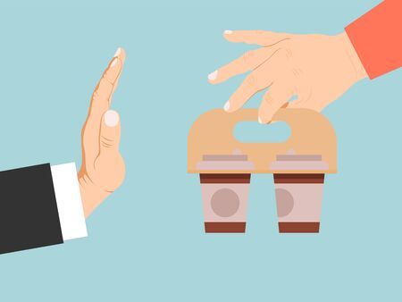 Businessman reject coffee vector illustration. Hand offers coffee to business man refuse. Stop caffeine addiction