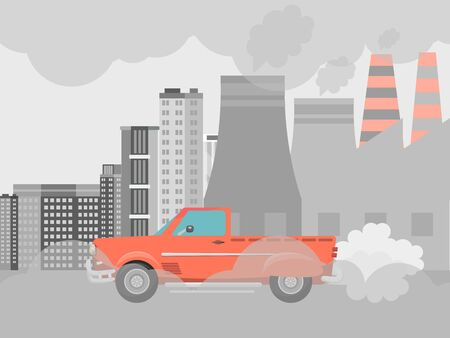 Pollution air by cars vector illustration. Cities road smog, factories and industrial smoke. Urban traffic jam with toxic gas environment pollution.