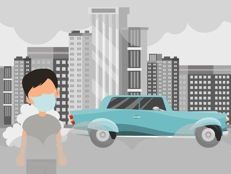 Air pollution and boy in mask vector illustration. Big city pollutions concept. Cartoon child character in face mask standing on background of factory сhimneys, and car exhaust.
