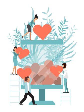 Caridad de tarro de cristal con corazones. Cola para hacer una donación. Concepto de donación y caridad, gente pequeña con corazón. Donaciones y compasión ilustración vectorial. Hombres y mujeres que llevan corazones para donarlo en una gran caja de cristal.