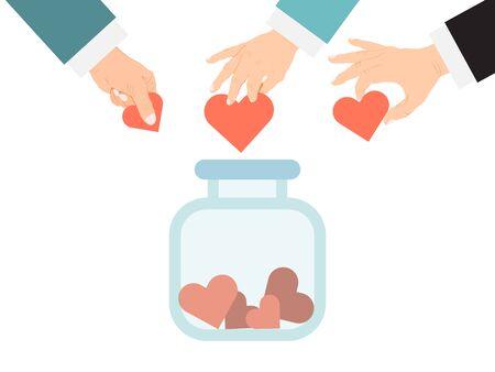Donar el tarro con el concepto de corazones. Ilustración de vector de caridad y donaciones. Manos de personas donando corazón en frascos. Da y comparte tu amor. Voluntariado, ayuda, misericordia y compasión Ilustración de vector