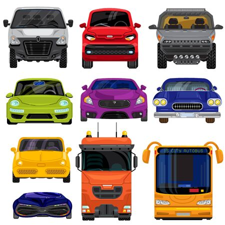 Car front type view vehicle cartoon transporting set vector illustration flat style. Passenger and cargo, urban and high way cars and bus front look isolated on white background.  イラスト・ベクター素材