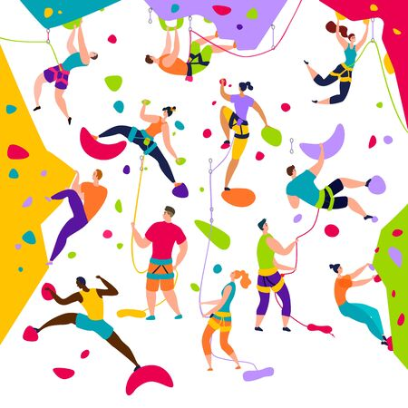 Climbing people active characters vector illustration set. Mountain extreme sport climbers on high wall. Extreme mountaineers climb workout flat style isolated on white background. 向量圖像