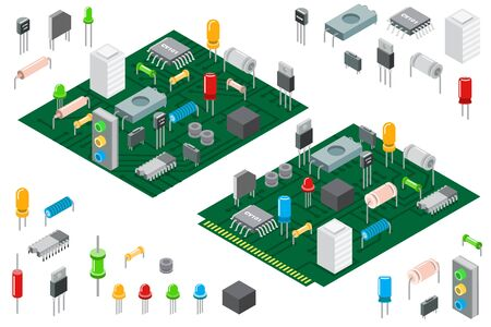 Electronic hardware components and integrated circuit board isometric vector illustration isolated on white 向量圖像
