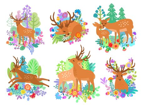 Deer cute animal cartoon set flat style vector illustration. Reindeer rest and activity life collection in forest and lawn isolated on white background. Deer emotions, feelings and care.