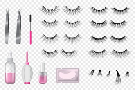 Eyelashes false beauty makeup vector set of isolated beautiful eye-lashes illustration realistic style 일러스트