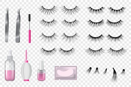Eyelashes false beauty makeup vector set of isolated beautiful eye-lashes illustration realistic style Ilustração