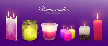 Candle aroma flaming realistic vector illustration. Wax aromatic candles set for spa relax therapy, romantic dates and religion holidays isolated on transparent violet background. Ilustração