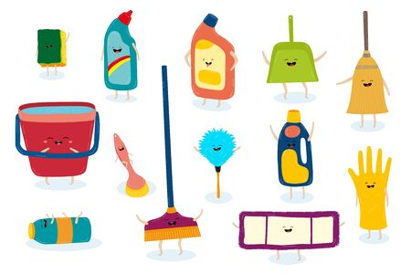 Cleanhelpers cartoon character set for keeping house hygiene vector illustration.