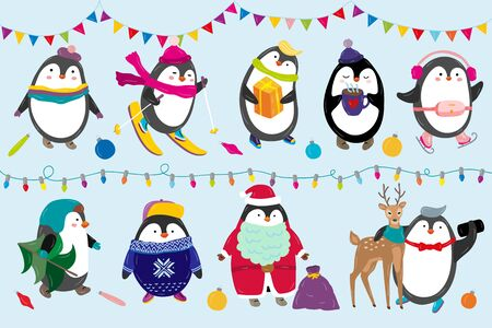 Penguins celebrate Christmas vector illustration happy funny animal characters in winter and New Year costume