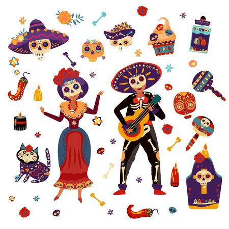 Day of dead festival celebration vector illustration Mexican woman and man in skeleton skull costumes Standard-Bild - 140592802
