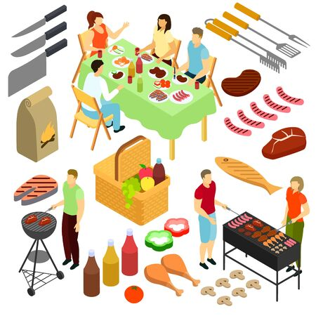 People on picnic vector illustration man woman frying meat bbq outdoor isometric set isolated on white Illustration